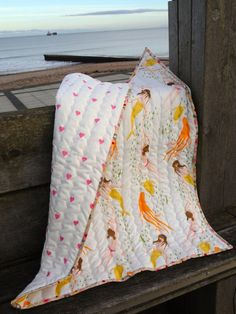 Baby Girl Quilt with Cushion Mermaids and by IssabellaTheCat, £80.00