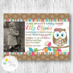 Hoot Owl Photo Invitation for Birthday Party or Baby Shower - Girls DIY Printable Invite by BeeAndDaisy on Etsy, $15.00