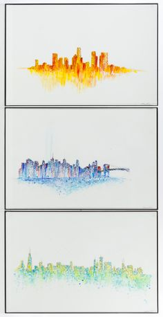 "Lot 300: Nathasa Rae (American, b.1989) ""Chicago"", ""Los Angeles"" and ""New York"" Watercolors; Undated, all signed lower right, depicting skyline views of Chicago, Los Angeles and New York"