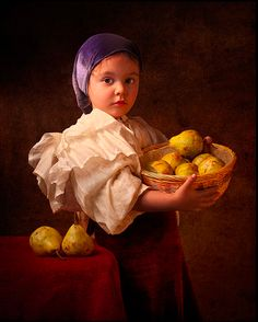 artist photographer with his daughter recreates classic paintings from the 17th century! :) Gekas Cites Rembrandt, Vermeer, Caravaggio and Velazquez as His Inspiration