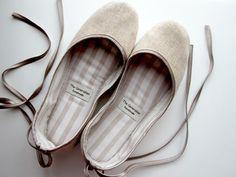 Handmade, vegan ballet slippers.