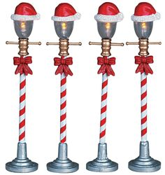 Santa Hat Street Lamp, Set Of 4  For my wish list . . . I'd love to have 2 sets  :0)