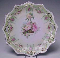 R S Prussia Porcelain Open Handled Cake Plate Shape 155 Reinhold Schlegelmilch