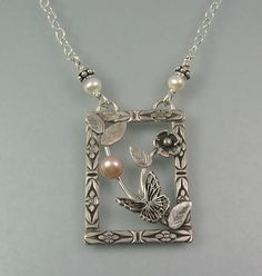 "Butterfly necklace with pink pearl handcrafted from sterling silver - ""Butterfly Garden Pendant Necklace"" handmade by Kryzia Kreations, http://www.kryziakreationsstudio.com/products/butterfly-pendant-necklace-with-pearl $235.00"