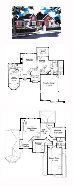 Victorian House Plan 97761 | Total Living Area: 2584 sq. ft., 3 bedrooms and 2.5 bathrooms. The angled staircase provides an impressive welcome as visitors enter the foyer. With only an island separating them, the kitchen/breakfast area is a hub of family activity. #victorianhome