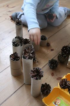 Play Ideas: Treasure Baskets & Discovery Boxes for Babies and Bigger Kids : Discovery Boxes for free play. Ideas include beans / tubes / etc; and pine cones / egg cartons. Toddler Play, Baby Play, Infant Activities, Preschool Activities, Heuristic Play, Discovery Box, Treasure Basket, Tree Study, Block Area
