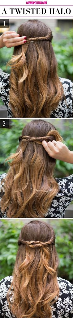 How to do a twisted half-up hairstyle.