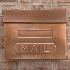 "Horizontal ""MAIL"" Wall-Mount Copper Mailbox - Antique Copper - Wall Mount Mailboxes - Mailboxes and Slots - Outdoor"