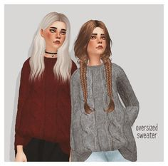 Pure Sims: Oversized sweater • Sims 4 Downloads