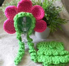 Crochet Flower hat with matching diaper cover by CrochetAok, $12.00