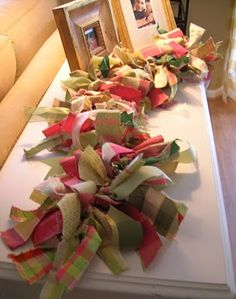Ragamuffin Memo Garland: You Can Make One! This might be a fun idea for a simple window treatment in the studio? Fabric Strip Garland, Rag Garland, Ribbon Garland, Fabric Strips, Garlands, Tulle Christmas Trees, Christmas Colors, Xmas Tree, Wooden Christmas Tree Decorations