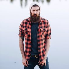 Lane Toran - full thick dark beard and mustache beards bearded man men mens' style fall winter fashion clothes flannel plaid handsome #beardsforever