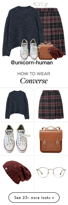 """Untitled #3114"" by unicorn-human on Polyvore featuring MANGO, The Cambridge Satchel Company and Converse"