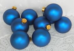 Set of 9 Glass Christmas Tree Ball Ornaments Rich Royal Blue Gold Crowns Matte