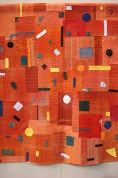 seed capsules — rosapomar: Quilts (via movinghands) Patch Quilt, Quilt Blocks, Monochromatic Quilt, Modern Quilt Patterns, Quilt Modern, Orange Quilt, Textile Fiber Art, Contemporary Quilts, Scrappy Quilts