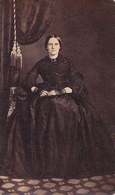 Well-to-Do Woman in Magnificent Mourning Clothes, Albumen Carte de Visite, Circa 1861