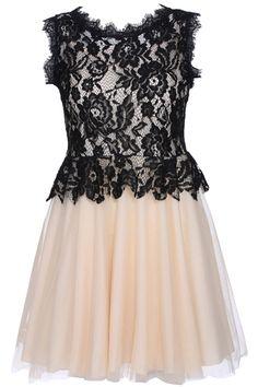 ROMWE | ROMWE Dual-tone Hollow Lace Apricot Sleeveless Dress, The Latest Street Fashion