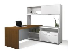 Modern Two Tone L-shaped Computer Desk with Hutch & Integrated Credenza