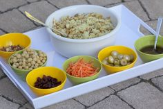 Moroccan couscous made kid-friendly -- serve all the toppings separately and let everyone load up (or at least try each flavor) as they like. From Foodlets.com.