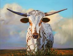 Love love love this piece by Teresa Elliott!!  Her skies are to die for and her detail on her bull is breathtaking