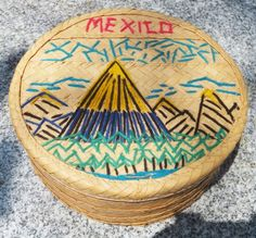 """Vintage MEXICAN Woven Basket with LID EMBROIDERED Art 7.5""""x3"""" Mexico CRAFT"""