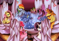 #860709 - alicorn, angel bunny, applejack, artist:shivall, cowboy hat, cupcake, cutie map, dragon, earth pony, female, fluttershy, food, freckles, hat, male, mane seven, mane six, mare, open mouth, pegasus, pinkie pie, pony, rainbow dash, rarity, safe, smiling, spike, stetson, the cutie map, twilight's castle, twilight sparkle, twilight sparkle (alicorn), unicorn - Derpibooru - My Little Pony: Friendship is Magic Imageboard
