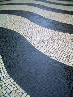 The Senado Square's disctinctive tiled pattern in Macau, China