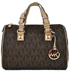 Michael Kors Grayson Medium Satchel Signature Brown PVC -- More info could be found at the image url.Note:It is affiliate link to Amazon.