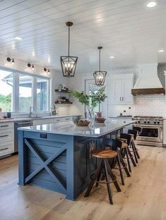 Home Interior Plants Modern eclectic farmhouse with delightful design features in Michigan.Home Interior Plants Modern eclectic farmhouse with delightful design features in Michigan Farmhouse Kitchen Island, Kitchen Island Decor, Modern Farmhouse Kitchens, Home Decor Kitchen, Interior Design Kitchen, Farmhouse Decor, Kitchen Colors, Italian Farmhouse, Rustic Kitchen