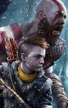 God of War - Created by Yasmine Vesalpour Tao, Witcher Wallpaper, Bloodborne Art, War Tattoo, Kratos God Of War, Gaming Wallpapers, Norse Mythology, Ragnar, Video Game Art