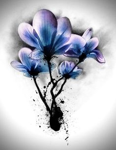 Blue Watercolor Magnolia Tattoo Design