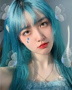 Blue Hair Aesthetic, Aesthetic Girl, Aesthetic Photo, Aesthetic Pictures, Dibujos Tumblr A Color, Uzzlang Girl, China Girl, Lolita Cosplay, Cute Girl Face