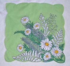 Bright Lime Green Daisy and Fern Handkerchief