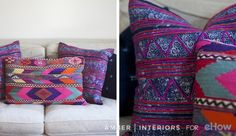 Pair textiles that are similar in pattern like these batik and kilim throw…