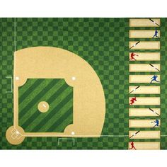 Sports Life Baseball Field Evergreen from Designed by Studio RK for Robert Kaufman Fabrics, this cotton print is perfect for quilting and home decor accents. The panel measures about x Colors include green, tan, brown, red and white.