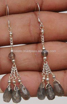 Labradorite Drops 925 Sterling Silver Earrings. Pearl Stud Earrings, Pearl Studs, Silver Earrings, Drop Earrings, Silver Nose Ring, Silver Pearls, Labradorite, Fine Jewelry, Pendant Necklace