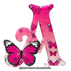 Alphabets by Monica Michielin Alphabet Letters Design, Flower Alphabet, Animal Alphabet, Alphabet And Numbers, Pink Butterfly, Butterfly Design, Butterflies, Graffiti Lettering, Lettering Design