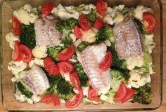 Torsk på grønsagsbund (4 personer)     2 porrer (400 g) ½ blomkål (250 g) ½ hvidkål (900 g) ½ broccoli (250 g) 3 tomater (300 g) 2 løg (100 g) 750 ml økologisk grønsags bouillon 4 stykker torsk filet (450 g) Tænd ovnen på 200