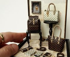 LV(No.17) Ooak Designer Handbags Purse decorating display sets -Dollhouse Miniatures 1/12