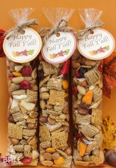 FALL TRAIL MIX Caramel Bits Fall Candy Corn Peanuts Brown Sugar Quaker Squares Fall M&M's Dehydrated Apples Peanut Butter Chip Life Cereal (made these for luncheon favors! Fall Snacks, Fall Treats, Holiday Treats, Fall Recipes, Holiday Recipes, Chex Recipes, Pizza Recipes, Baking Recipes, Fall Candy