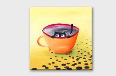 Morning coffee painting  Coffee bean art  Humor cat by artbyasta, $80.00