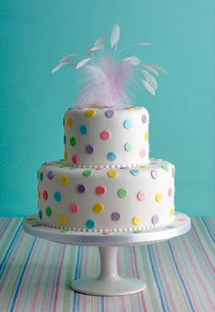 Dotty About You' birthday cake : Meyer lemon cake, 'Duchy Originals' lemon curd, vanilla bean buttercream. The Polka dots can be made in any colour combination. (for alternatives please see 'Fillings & flavours') Price as shown 2 tier (stand not included) £475