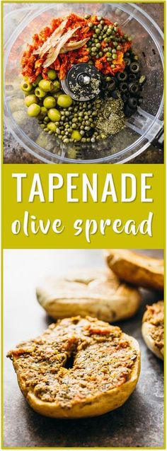 olive spread, olive tapenade, sun dried tomato tapenade, best tapenade recipe, black olives, green olives, olive paste, olive spread, easy, appetizer, spread, bread, bagel via /savory_tooth/