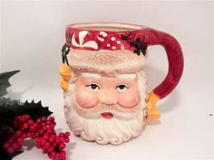 Santa Claus Mug Hand Painted Ceramic Toby Mug Vintage Nantucket Home Christmas…