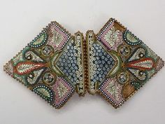 ANTIQUE MICRO MOSAIC BELT BUCKLE