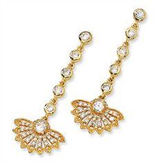 """Gold plated """"Vermeil"""" Sterling Silver CZ Fan Dangle Post Earrings"""