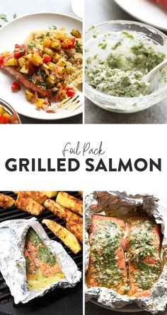 This grilled salmon in foil with pineapple needs to be the star of your next summer bbq. This healthy meal is made in under 30 minutes on the grill and full of fresh flavor! Salmon In Foil Recipes, Healthy Salmon Recipes, Vegetarian Recipes, Protein Recipes, Clean Recipes, Delicious Recipes, Grilled Fruit, Grilled Salmon, Grilled Fish