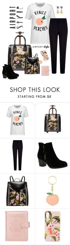 """""""Airport Style"""" by alara-cary ❤ liked on Polyvore featuring Être Cécile, Ted Baker, Escada Sport and Skechers"""