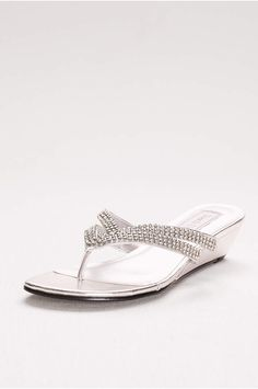 f8efb1386996 Embellished Double-Strap Flip Flops - Davids Bridal Low Wedge Sandals