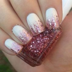 17 Fashionable Office Nail Designs: #13. White Nail Design With Pink Glitter
